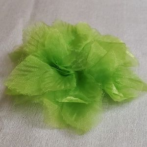 LOFT Lime Tulle Beaded Floral Pin Brooch #644
